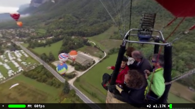 Still shot from 360º video of balloon flight.