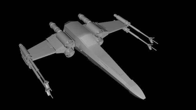The space fighter model with no textures applied.